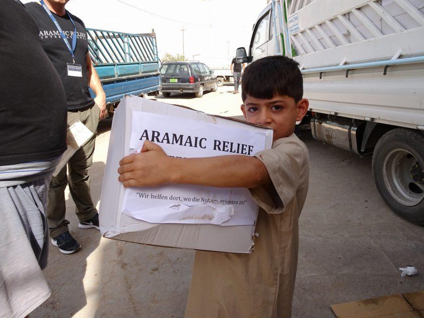 Verteilung von 300 Lebensmittelpaketen in Qaraqosh, Irak, Juli 2017